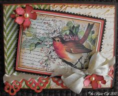 "'Robin' - Vintage Spring Cards by Tanya Ilnicki using Crafty Secrets ""Birds and Blossoms"" Creative Scraps"