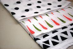 DIY Hand stamped tea towels