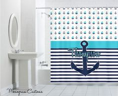 Sailboats & Anchors Monogram Shower Curtain by Monogramcustoms, $57.99