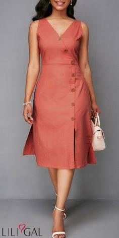 USD35.37    Zipper Back Sleeveless Button Detail Dress   #liligal #dresses