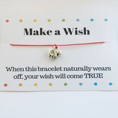 Make a Wish bracelet with a lovely elephant charm Red String Bracelet, Make A Wish, How To Make, Elephant Bracelet, Sliding Knot, Wish Bracelets, Charmed, Gifts, Etsy