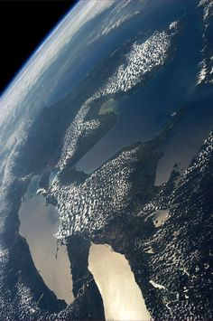 "Pinned from space by astronaut Karen Nyberg: ""The Great Lakes.  Taken August 23, 2013.  KN from space."""