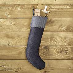Hickory Stripe and Denim Stocking   CB2 - $40