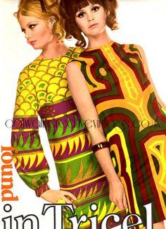 #1960's #1960s fashion shift dress bold graphic print tribal ethnic yellow red green mod mini sleeveless long sleeves african asian island tiki