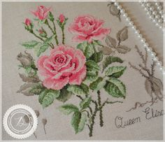 Giedružės valdos: Queen Elisabeth - My site Cross Stitch Love, Cross Stitch Flowers, Cross Stitch Charts, Cross Stitch Designs, Cross Stitch Patterns, Cross Stitching, Cross Stitch Embroidery, Hand Embroidery, Embroidered Roses