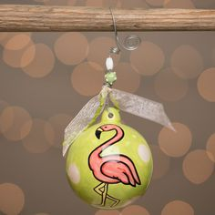 Features: -Made of ceramic. -Pink / Green color. -Ribbon and beaded wire hanger. Product Type: -Ball ornament. Theme: -Animal. Color: -Green/Pink. Number in Set: -1. Primary Material: -Ceramic