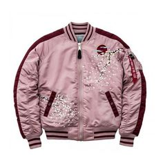 Alpha Industries' Cherry Blossom Bomber Is All You'll Need This Fall ❤ liked on Polyvore featuring outerwear, jackets, alpha industries jacket, silver jacket, style bomber jacket, alpha industries and silver bomber jacket