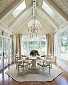 Vaulted Ceiling Lighting, Shiplap Ceiling, Vaulted Ceilings, White Ceiling, Sunroom Windows, Dining Room Windows, Large Windows, Country Home Magazine, The Ranch