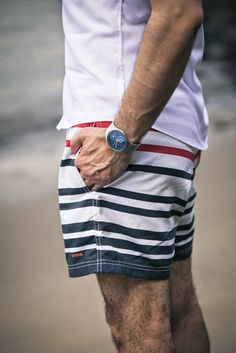 Men's Striped Swim Trunks l Beachwear l www.CarolinaDesigns.com