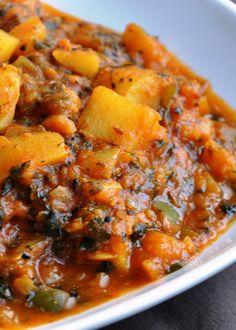 Aloo Shimla Mirch Aur Tamatar Ki Subzi (Potatoes & Green Pepper cooked in a Tomato Fenugreek Gravy) - Gluten Free, Vegan