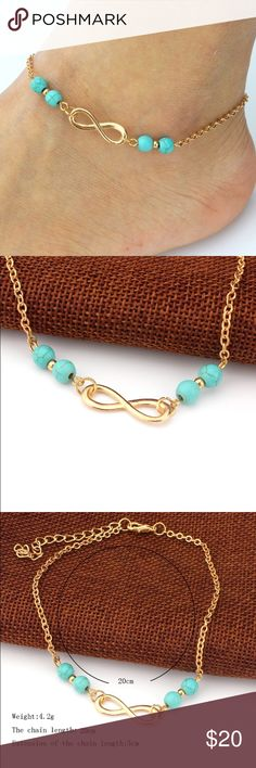 Boho Infinity Anklet with Turquoise Beads Super Cute Gold Anklet with Turquoise Beads! Please see above image for measurements. Not Free People Free People Jewelry