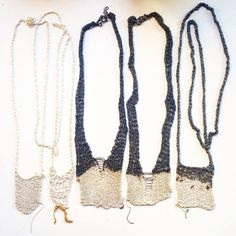 crochet silver chain necklaces. Katia Alpha jewelry.