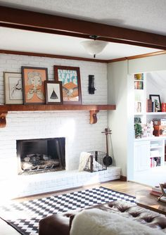 Fireplace makeover & tutorial on how to paint your own brick fireplace! | Maiedae