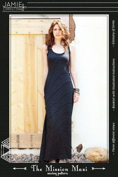 The freedom of femininity.    A soft free flowing maxi dress sewing pattern with plenty of options to choose from: tank top maxi, halter top maxi,