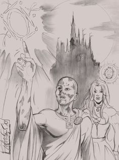 Elantris - Sketch of Raoden and Sarene by SOLRAC-ONAICILEF