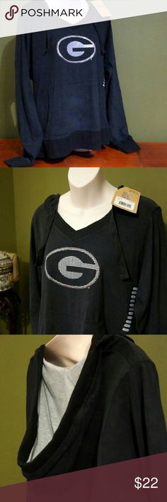 Georgia Bulldogs Long Sleeve Hoodie NWT never worn Georgia State hoodie in black with a hologram style logo from P2. Nice deep gray lined hood and has kangaroo pockets. Tag says XL but in my opinion runs a little small, so i would consider it to be more of a M/L. p2 Tops Sweatshirts & Hoodies