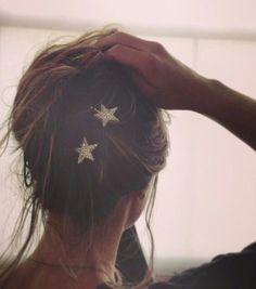 Sparkly gold glitter star hair clips #stars