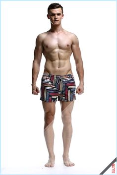Men Swim Trunks Beach Shorts,Doodle Style Geometric Folk Figures Dots and Circles in Vertical Order