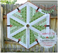 Log Cabin Tree ~ Quilted Tree Skirt & Ornaments