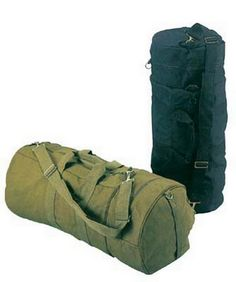 "http://www.armynavyshop.com/prods/rc2372.html sports bags - double-ender canvas sport bag  olive drab, 30""x13 in., water repellent heavyweight cotton canvas, 3 pockets, 23 in. zipper main compartment, 6.5 in. extension end pocket and 5.5 in. internal pocket, detachable shoulder strap."