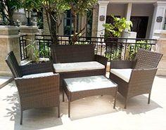 4pcs Effect Rattan Outdoor/Indoor Garden Coffee Table And Chairs Set (Dark Brown)