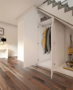 Accessories, Modern White Stained Wooden Understairs Shoe Storage Pull Out Door Lock Models Hanging Shirts Design Silver Stainless Handling Light Brown Polished Wooden Alluring Floor: Creative Under Stairs Shoe Storage Images Staircase Storage, Interior, Shoe Storage Under Stairs, Smart Storage, Cupboard Storage, Coat Storage, Closet Under Stairs, Storage, Stairway Lighting