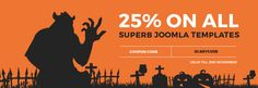The Halloween sale on Joomla-Monster just started! Now you may grab 25% discount code to buy high-quality Joomla templates and get commercial extensions.  #Halloween #Halloweensale #HappyHalloween #discount #sale #offer #Joomla #templates