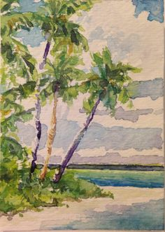 ACEO Vosberg Original Watercolor Tropical Palm Trees Island Beach Hawaii