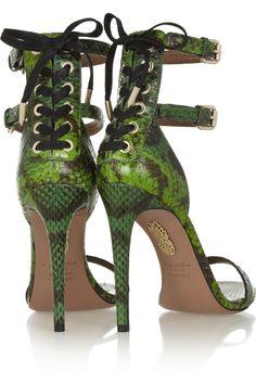 AquazzuraGreen 'Saharienne' Glossed-Elaphe Sandals€595 Spring Summer 2014 #Shoes #heels