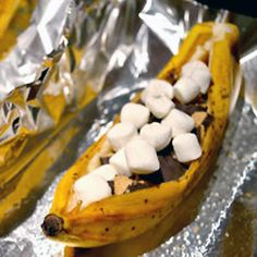 Camp Food Recipes  Decadent Banana S'mores and other no-mess camping recipes.