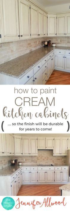 How to paint cream kitchen cabinets so the finish will be durable! Cabinet Painting Tips from http://theMagicBrushinc.com. Here's an easy DIY kitchen update with painted kitchen cabinets. Gorgeous Kitchen!