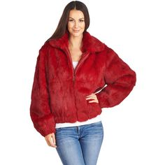 FRR Frances Scarlet Rabbit Fur Bomber Jacket with Hood (21.845 RUB) ❤ liked on Polyvore featuring outerwear, jackets, flight jacket, hooded bomber jackets, red hooded jacket, rabbit fur jacket and pocket jacket