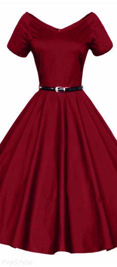 Luouse Vintage V-Neck Rockabilly Pinup Dress