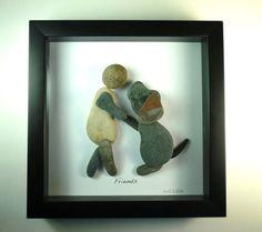 Dog, Love, Friendship.  8X8 shadow box, Pebble Art, natural River Rocks.