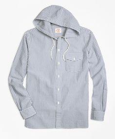8df73af8d5 Stripe Seersucker Hooded Sport Shirt for Summer 2016 Sports Shirts