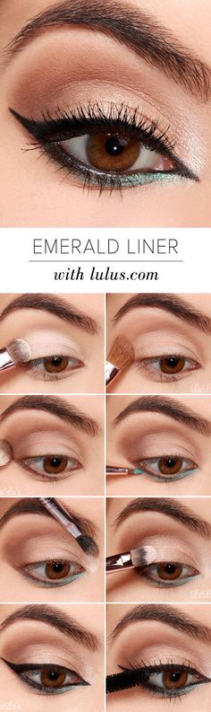 10 Easy Step-By-Step Eyeliner Tutorials For Beginners: #7. Black and Emerald Eyeliner Look – Simple Step By Step Eyeliner Tutorials For Beginners