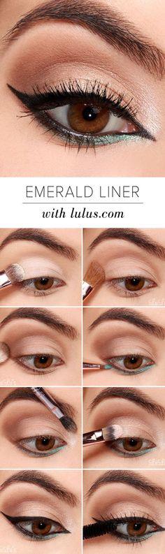 10 Easy Step-By-Step Eyeliner Tutorials For Beginners: #7. Black and Emerald Eyeliner Look – Simple Step By Step Eyeliner Tutorials For Beginners