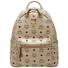 # MCM Four Stud Front Fashion Leather Small Backpack in beige # Backpacks are a huge hit in 2015 and MCM volume is large enough to containt your fashion items.