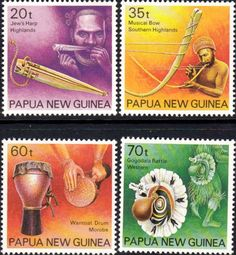 Papua New Guinea 1990 Musical Instruments Set Fine Mint SG 628/30 Scott 746/9 Other European and British Commonwealth Stamps HERE!