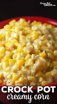 Creamy Crock Pot Corn - Recipes That Crock! Creamy Crock Pot Corn is THE BEST corn side dish and so simple to make! The slow cooker does all the work. Perfect for the holidays, potlucks, picnics or a treat for a weeknight meal. Crockpot Side Dishes, Potluck Dishes, Potluck Recipes, Side Dishes Easy, Side Dish Recipes, Vegetable Recipes, Picnic Side Dishes, Vegetable Salad, Recipe For Side Dishes
