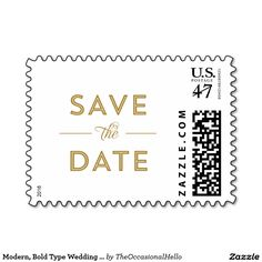 Modern, Bold Type Wedding Save the Date in Gold