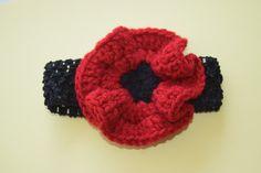 Red Poppy Crochet Headband by MichaelPoppyProject on Etsy