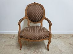 Antique Country French Carved Fireside Lounge Louis XV Regency Chair...
