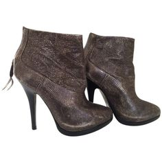 Pre-owned Allsaints All Shard High Heel Bronze / Copper Boots ($114) ❤ liked on Polyvore featuring shoes, boots, ankle booties, zip boots, zipper boots, platform ankle booties, high heel platform booties and waterproof boots