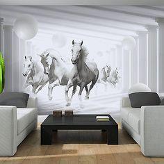 Poster Fototapeten Tapete Fototapete Kugeln Pferd Tier Weiss Wand Bild 3087 P4