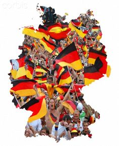 Deutschland map silhouette with a photo of crowds waving the German flag