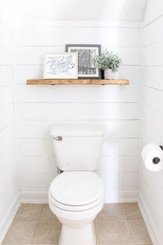Modern farmhouse half bath update with a DIY sink and planked walls. Half Bathroom Decor, Small Bathroom, Small Bathroom Decor, Bathroom Redo, House Bathroom, Bathrooms Remodel, Small Half Baths, Bathroom Sets, Half Bath Decor