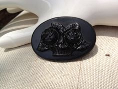 Victorian Mourning Brooch with a basket of roses by thejunkdiva, $30.50