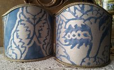 Pair of  Wall Sconce Clip-On Shield Shades Fortuny Fabric Blue & Silvery Gold Nicolo Pattern Half Lampshade - Handmade in Italy by OggettiVeneziani on Etsy