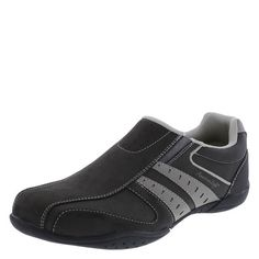 This stylin' sneaker provides the comfort of a slip-on in a sleek and trendy shoe. It features a combination upper, twin gore for easy on/easy off, padded tongue and collar, mesh lining, padded memory foam insole, and a gripping outsole. Manmade materials.